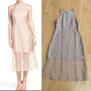 Ali & Jay Champagne Leopard Midi Dress